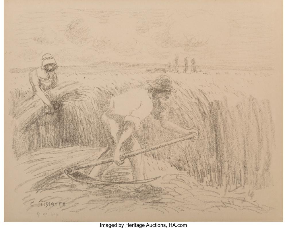 Lot 21175: Camille Pissarro (French, 1830-1903) Le Faucheur, circa 1894 Lithograph on paper