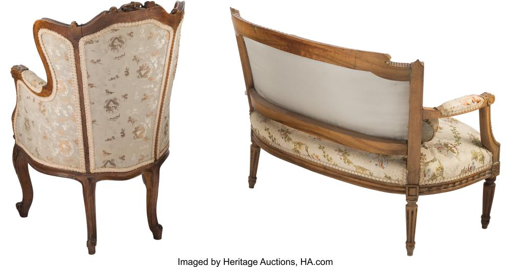 Lot 21180: A Louis XV-Style Fruitwood Children's Fauteuil d'Oreilles and a Louis XVI-Style