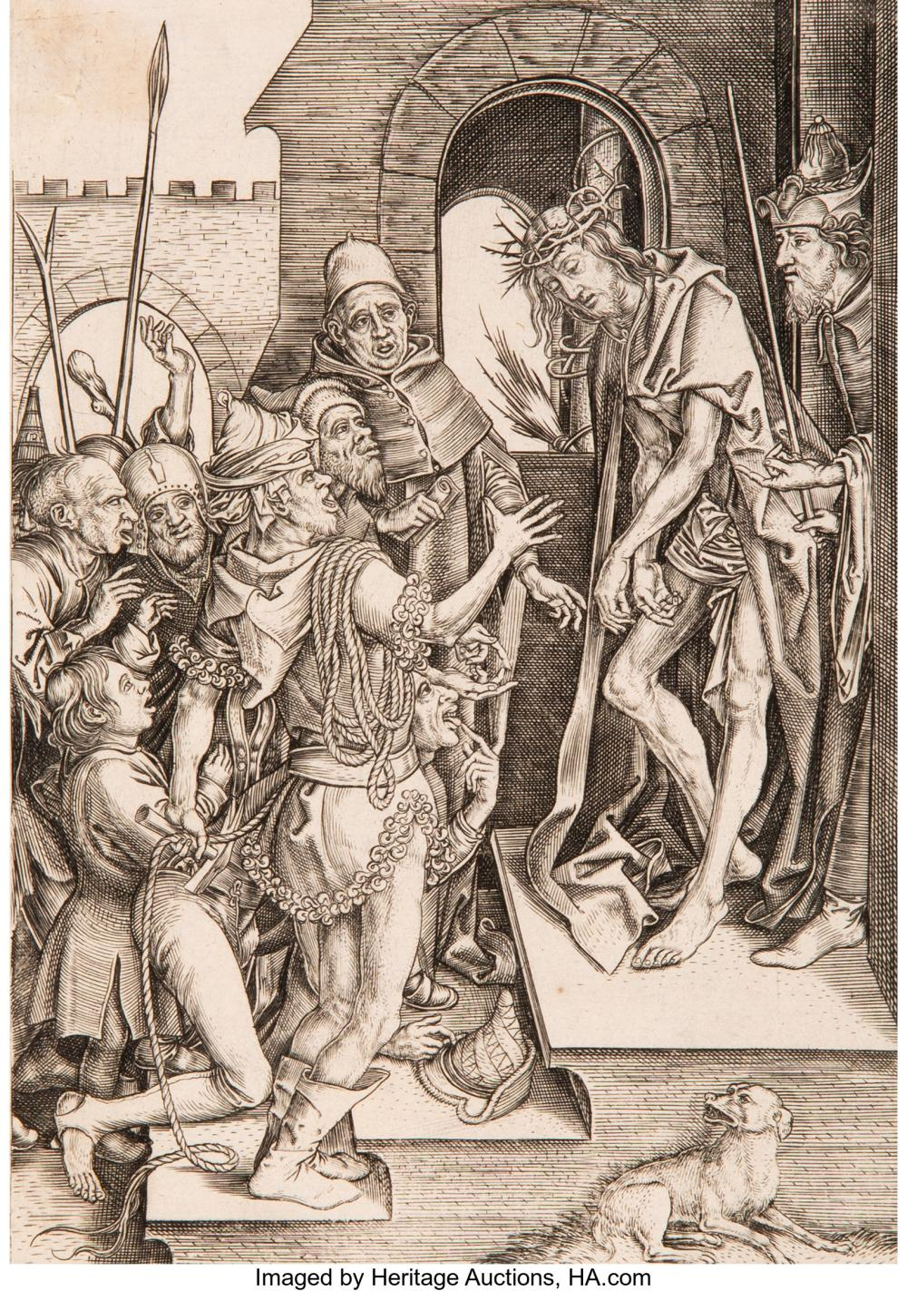 After Martin Schongauer  By Adriaen Huybrechts Ecce Homo Engraving on laid paper