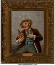 Lot 21174: Jules Zermati (Italian, 1880-1920) The Wine Connoisseur Oil on canvas 18 x 14 in