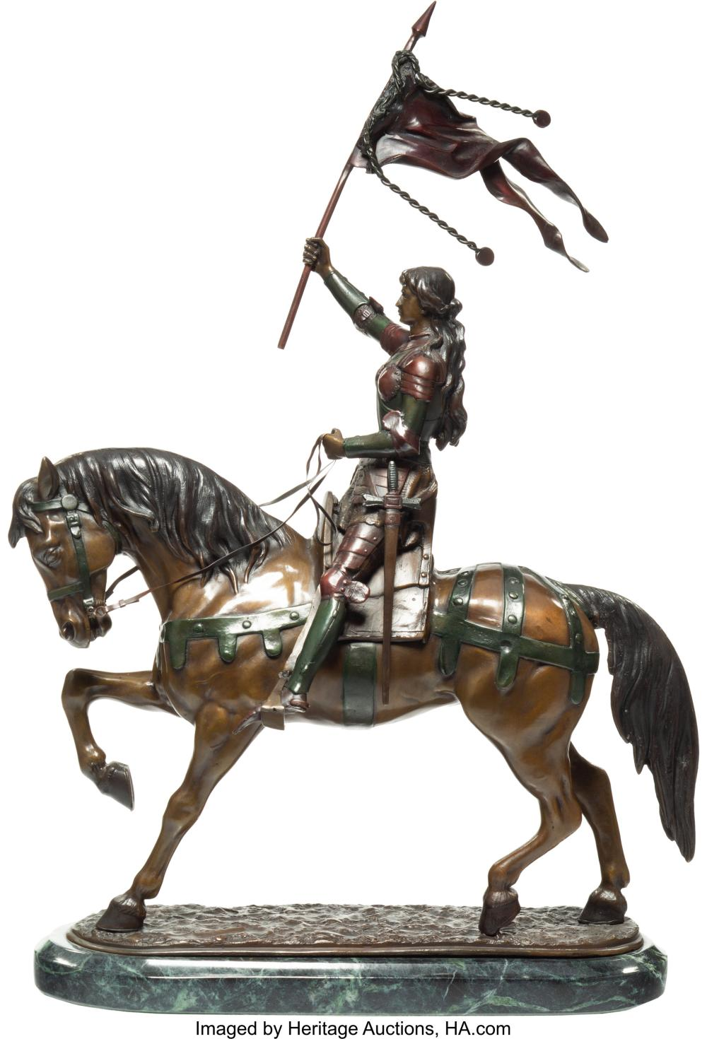 Lot 21168: A Polychromed Sculpture of Joan of Arc Modeled After Friemet 25-1/2 x 16 x 5 inc