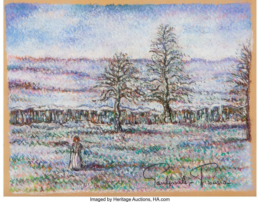Paulémile Pissarro (French, 1884-1972) Un Matin d'Hiver Pastel on paper 9-3/4 x