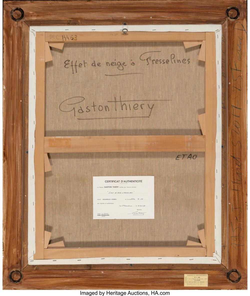 Lot 21167: Gaston Thiery (French, 1922-2013) Effet de neige a Fresselines Oil on canvas 31-