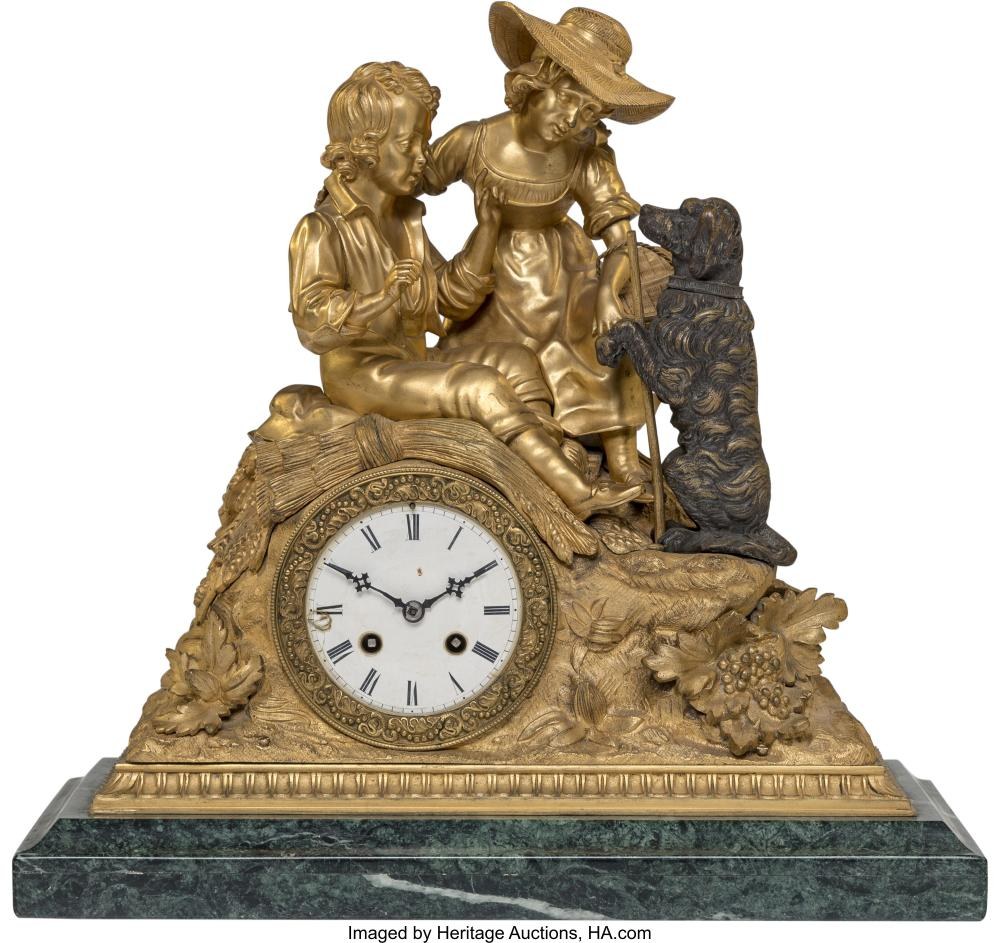 Lot 21185: A French Parcel Gilt Bronze Figural Mantle Clock, early 20th century 15-3/4 x 16
