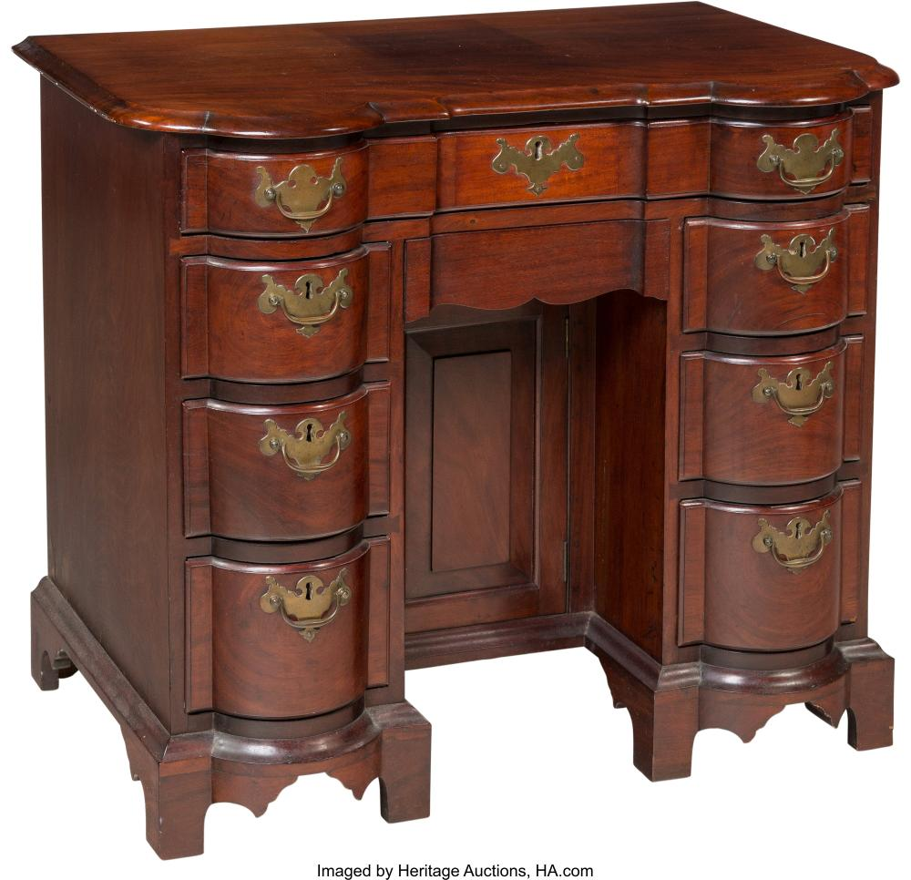 Lot 21181: An American Chippendale-Style Mahogany Desk, mid-18th-mid-19th century 29-3/4 x