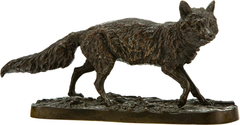 After Pierre Jules Mêne (French, 1810-1879) Wolf, 19th century Bronze with brown