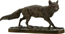 Lot 21187: After Pierre Jules Mêne (French, 1810-1879) Wolf, 19th century Bronze with brown