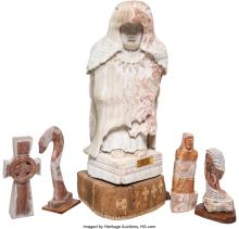 Lot 21192: Chris Delabarto (American, 20th Century) Group of Five Sculptures Carved marble