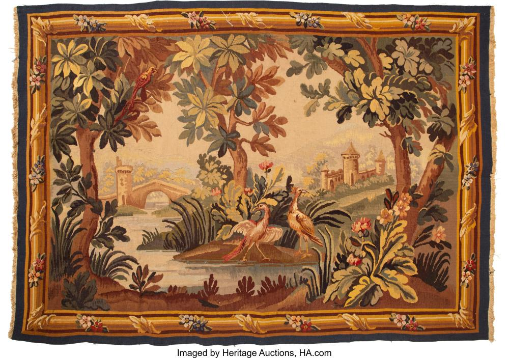An Aubusson-Style Wool Tapestry, mid-20th century 70-1/2 x 49-1/4 inches (179.1
