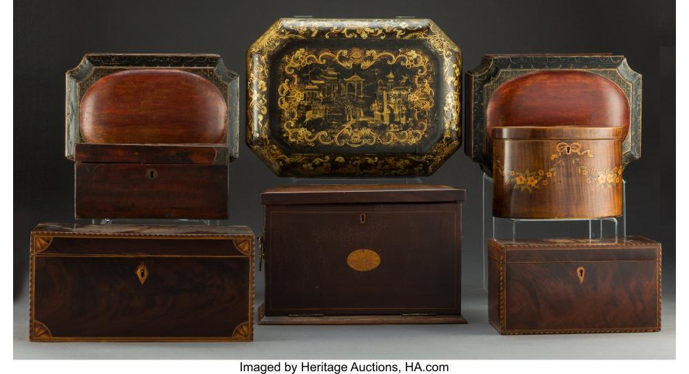 Lot 21189: A Group of Eight Inlaid and Lacquered Wood Boxes, 19th century 5-5/8 x 14 x 10 i