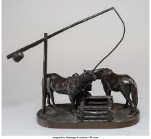 Lot 21190: A Russian School Bronze Girl Watering Two Horses Sculpture, 1903 Marks: A M Bord