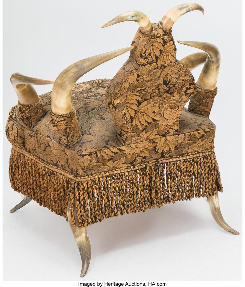 Lot 21183: An American Upholstered Longhorn Armchair, late 19th century-early 20th century
