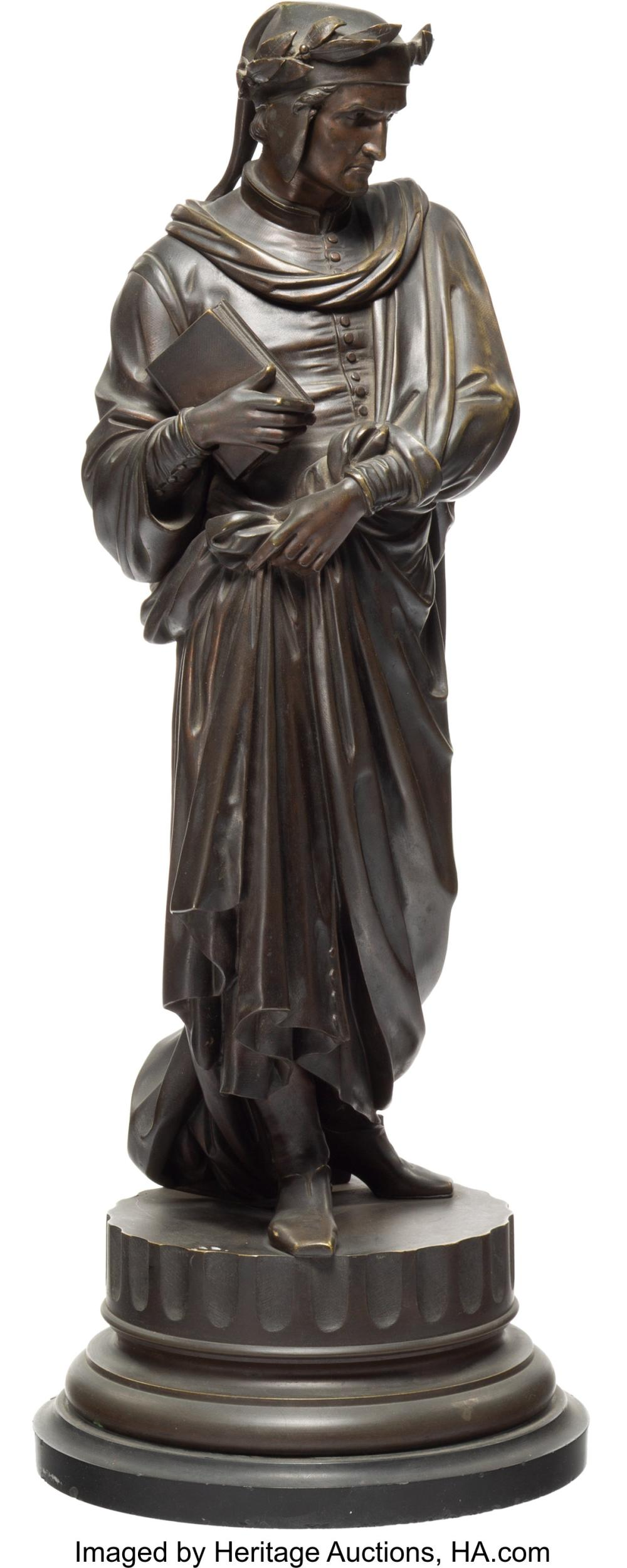 Lot 21199: Continental School (20th Century) Dante Bronze with brown patina 21 inches (53.