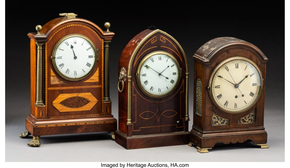 Three Mahogany Inlaid Wood Mantel Clocks, early 20th century Marks: (various, to