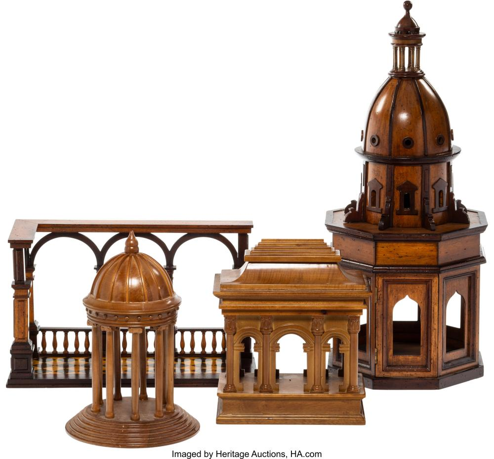 A Group of Four Wood Neoclassical Architectural Models, late 20th century 24 x 1