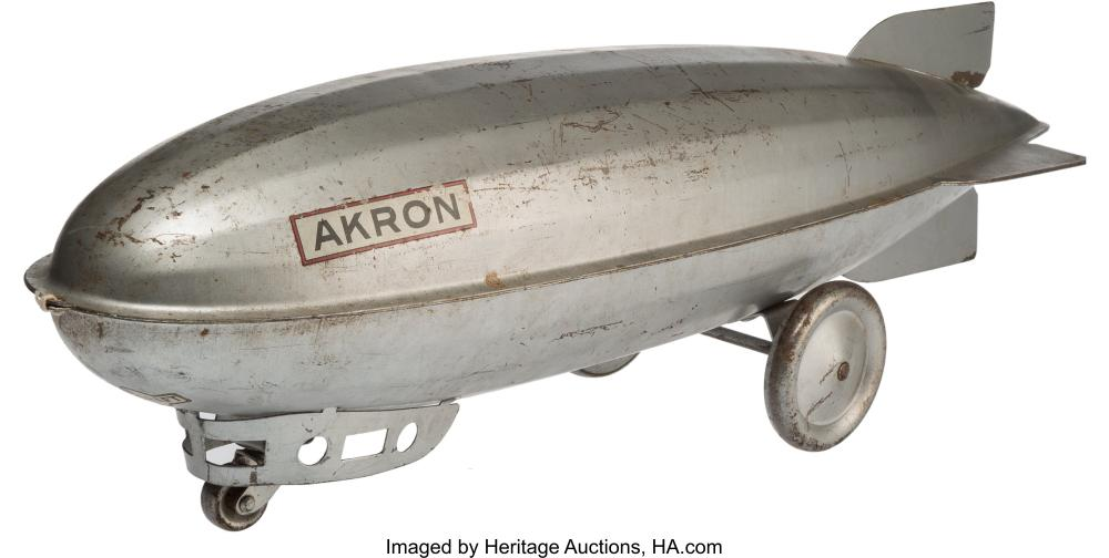 Lot 21193: A Steelcraft Pressed Steel Dirigible Model of the USS Akron, Cleveland, Ohio, ci