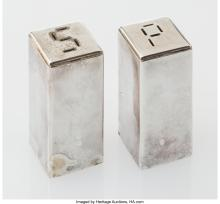 Lot 21204: Merle F. Faber (American, 1891-1980) Salt and Pepper Shakers, circa 1940 Silver