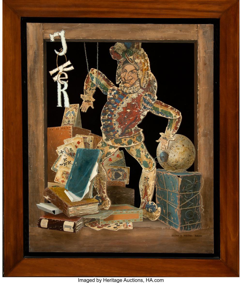 Lot 21214: Michel and Elena Gran (Russian, b. 1941) Joker Oil on canvas 32 x 25-1/2 inches
