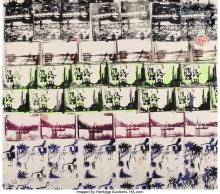 Lot 21220: Edwin Mejia (21st Century) Untitled, 2008 Silkscreen and stickers on canvas 53-1