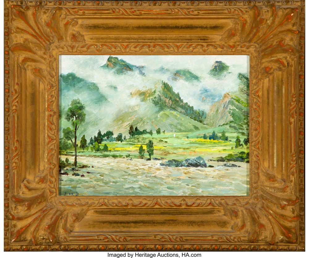 Lot 21215: Jianmin Dou (Chinese, 21st Century) Pair of Landscapes Oil on paper laid on pane