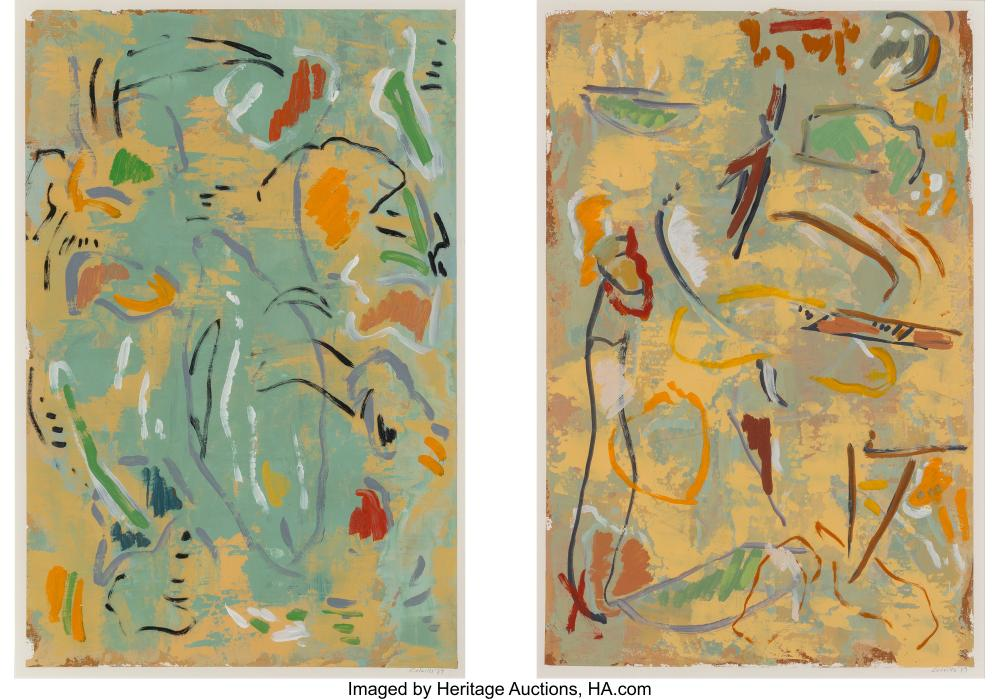 Lot 21206: Pat Colville (American, b. 1931) Summer (diptych), 1989 Oil on paper 20-1/2 x 13