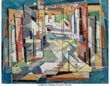 Lot 21233: Charles Ragland Bunnell (American, 1897-1968) Untitled, 1952 Oil on canvas laid
