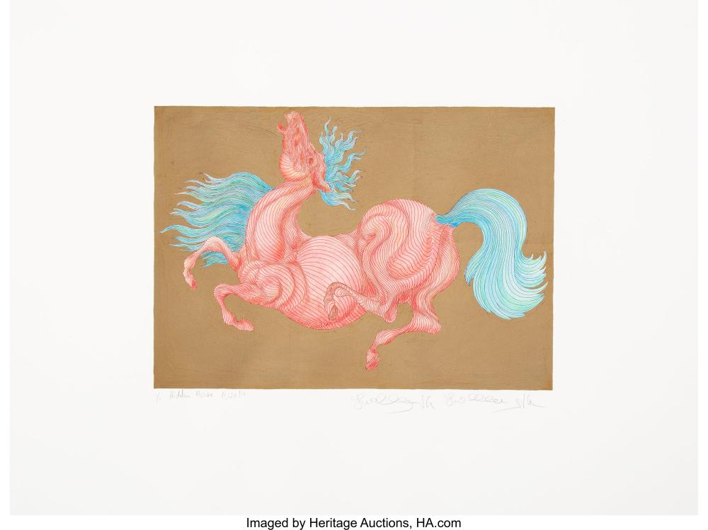 Lot 21224: Guillaume Azoulay (Moroccan, b. 1949) Hidden Horse, 2014 Serigraph in colors wit