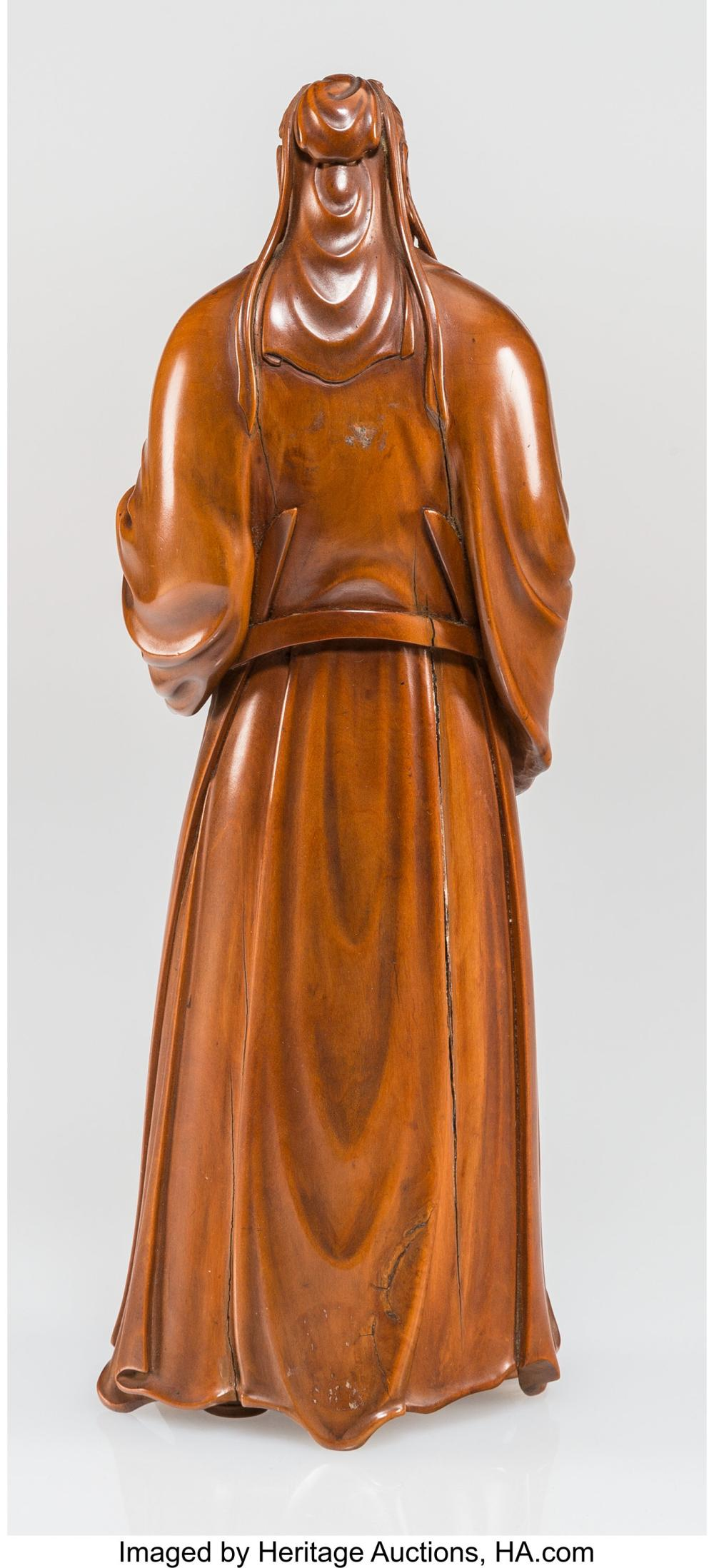 Lot 21256: A Chinese Boxwood and Mother-of-Pearl Inlay Scholar Figure, 20th century 11-1/2