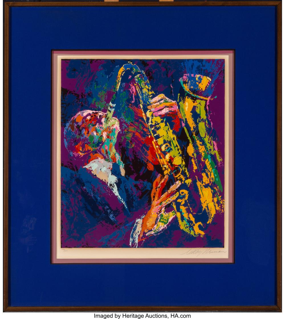 Lot 21250: LeRoy Neiman (American, 1921-2012) Sax Man, 1974 Serigraph in colors on paper 31