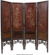 Lot 21263: A Chinese Boxwood-Inlaid Four-Panel Screen with Three Chinese Hardstone-Inlaid H