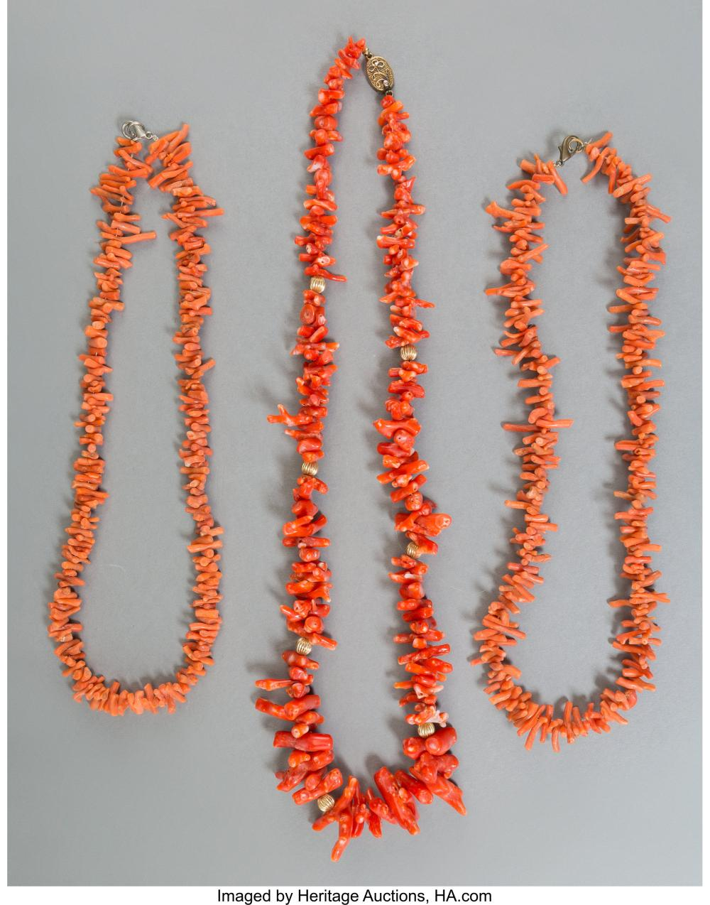 Lot 21268: Three Chinese Natural Coral Necklaces Marks to one clasp: SILVER 23 inches long