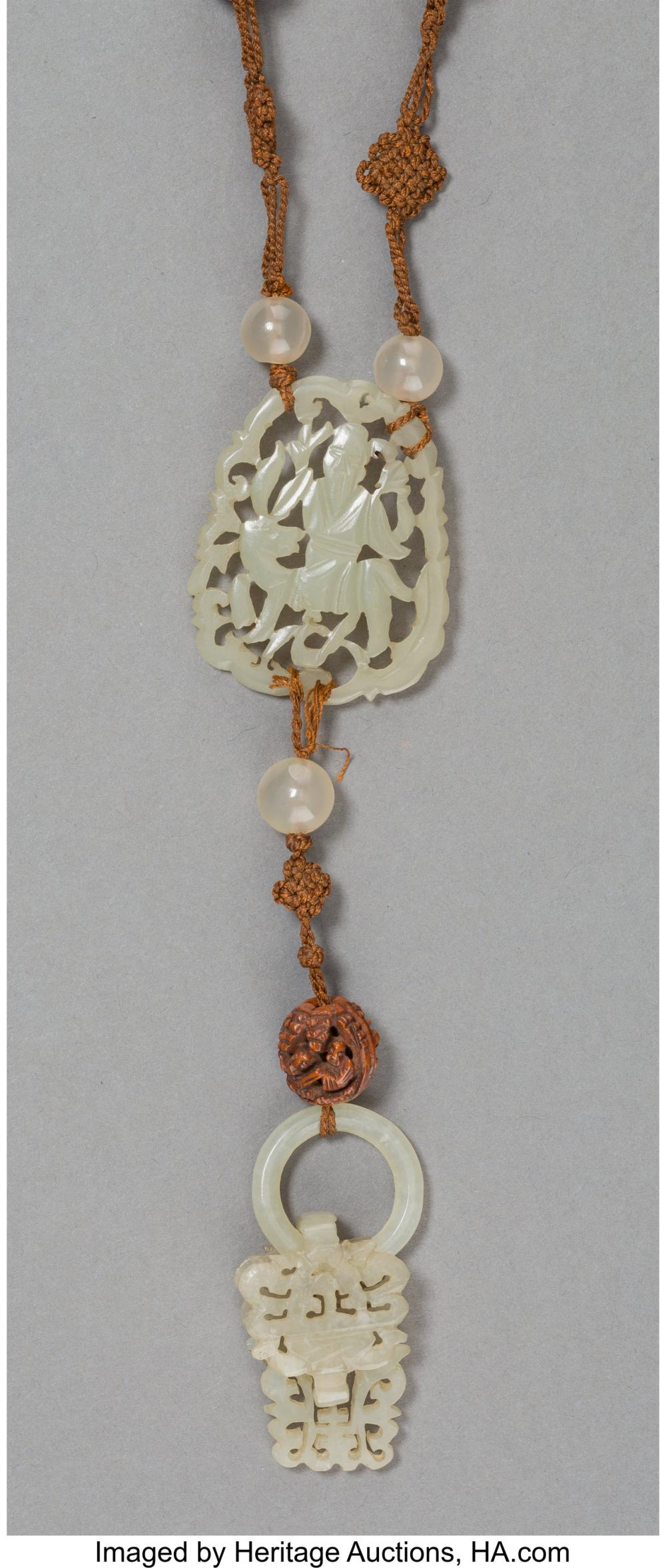 Lot 21266: A Chinese Carved Pale Jade and Boxwood Beaded Necklace 36 inches (91.4 cm)