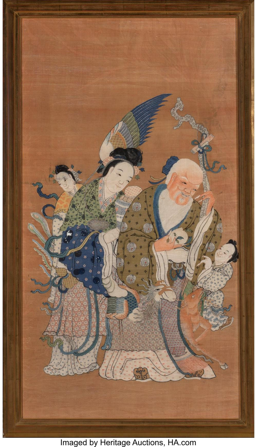 Lot 21264: A Chinese Kesi Silk Pictorial Textile, late Qing Dynasty 59 x 32 inches (149.9 x