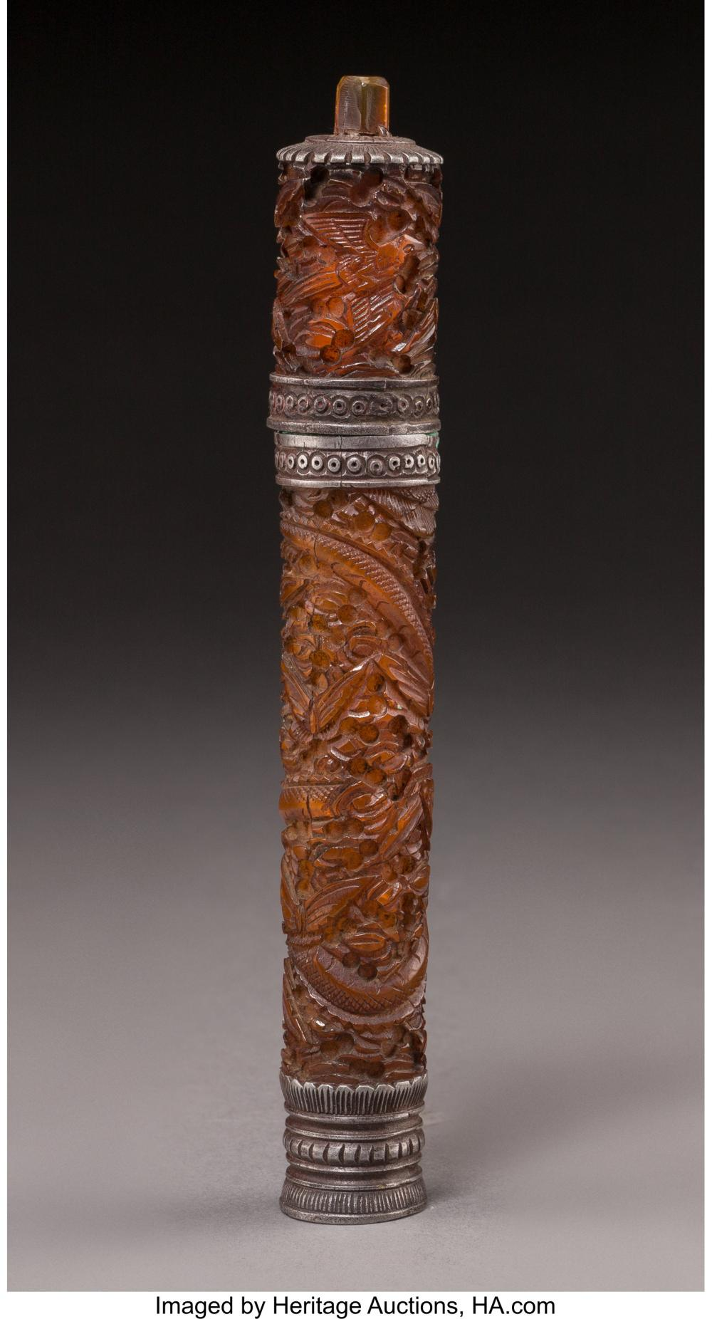 Lot 21276: A Sino-Tibetan Carved Amber and Pewter Incense Holder 6-1/4 inches (15.9 cm)