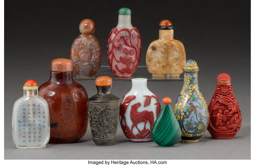 Lot 21279: Ten Chinese Snuff Bottles 3-3/8 inches (8.6 cm) (tallest) The lot comprising: