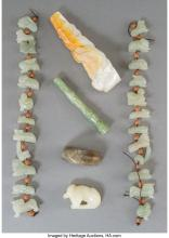 Lot 21267: Five Jade Carvings with Mother-of-Pearl Dragon Cigarette Holder 8-1/2 inches (21