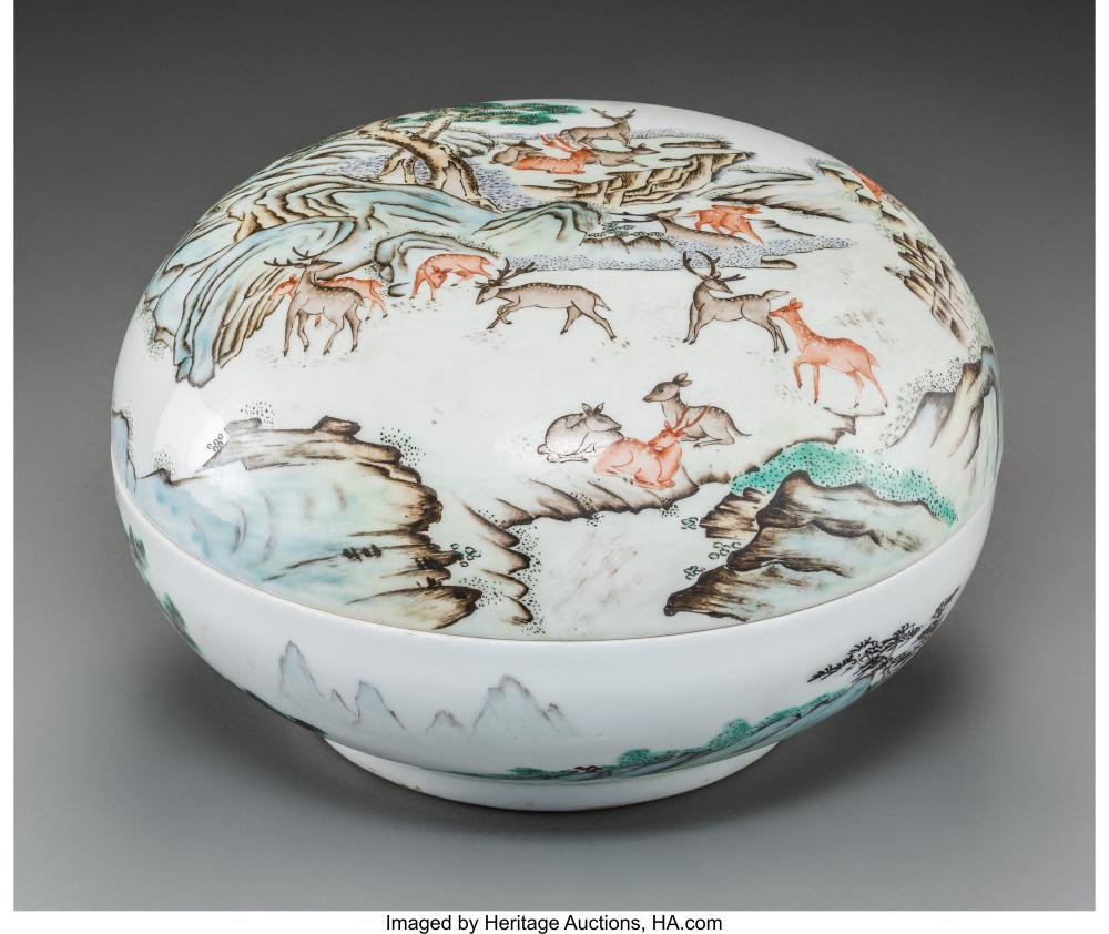 Lot 21277: A Large Chinese Enameled Porcelain Covered Box with Deer Motif, Republic Period