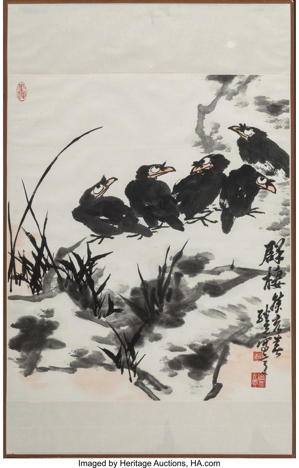 Lot 21280: Two Lv Lin, Long Jixian, and Wu Mingyao Chinese Watercolor Paintings Marks: Red
