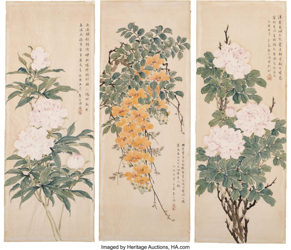Lot 21271: Wenzhao Li (Chinese, b. 1906) Three Watercolor Floral Paintings Ink and color on