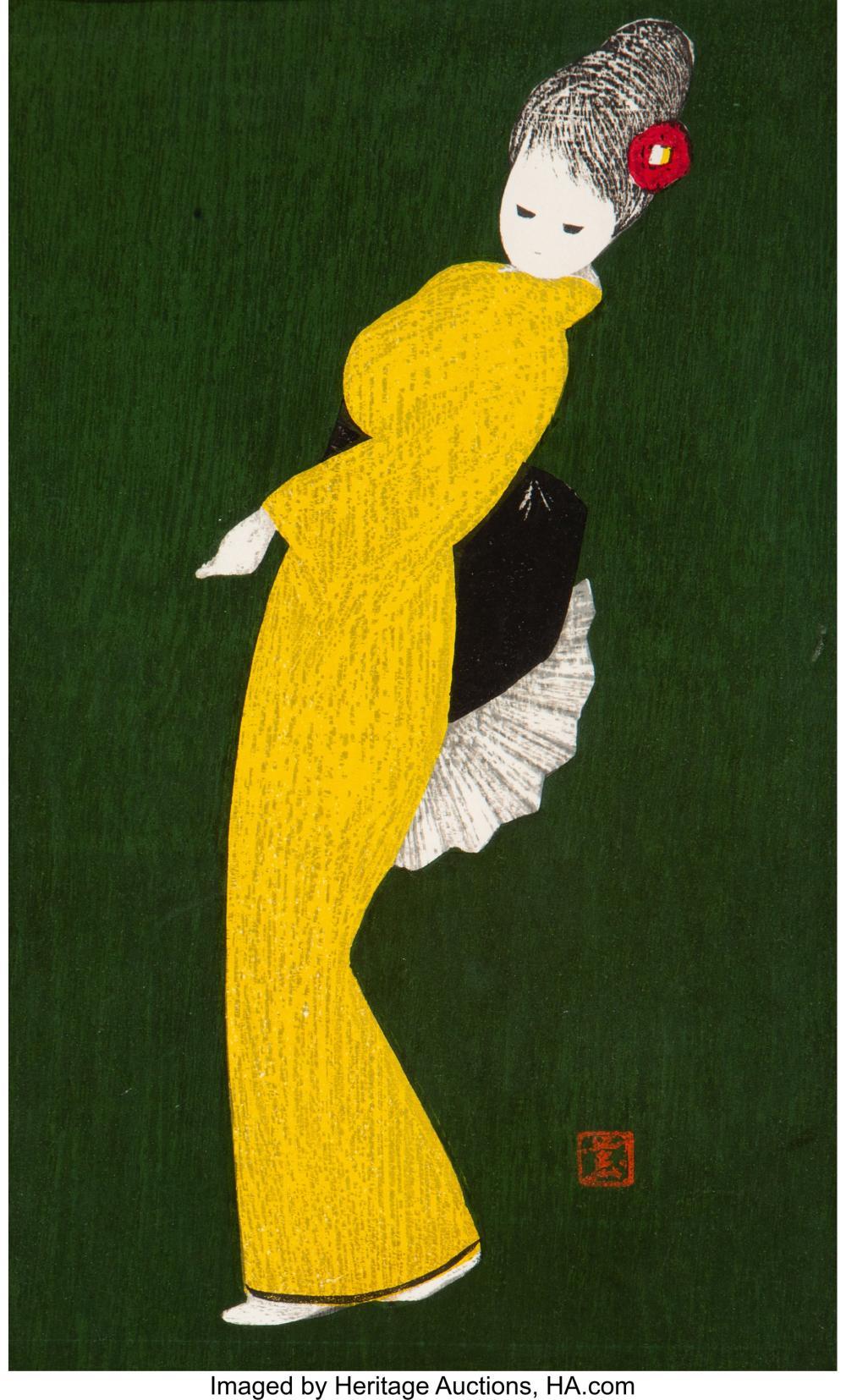 Lot 21293: Kaoru Kawana (Japanese, 1916-1965) Five Woodblock Prints, circa 1950 Ink and col