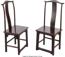 Lot 21288: A Pair of Chinese Elmwood Side Chairs, 19th century 45 x 19-1/4 x 15 inches (114