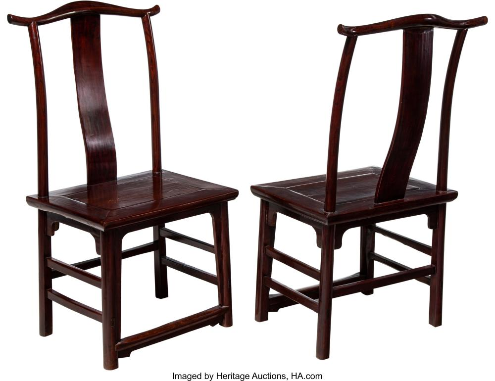 Lot 21289: A Pair of Chinese Elmwood Side Chairs, 19th century 45 x 19-1/4 x 15 inches (114