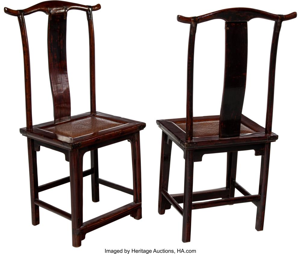 Lot 21291: A Pair of Chinese Elmwood Side Chairs, 19th century 45-1/4 x 23 x 16 inches (114