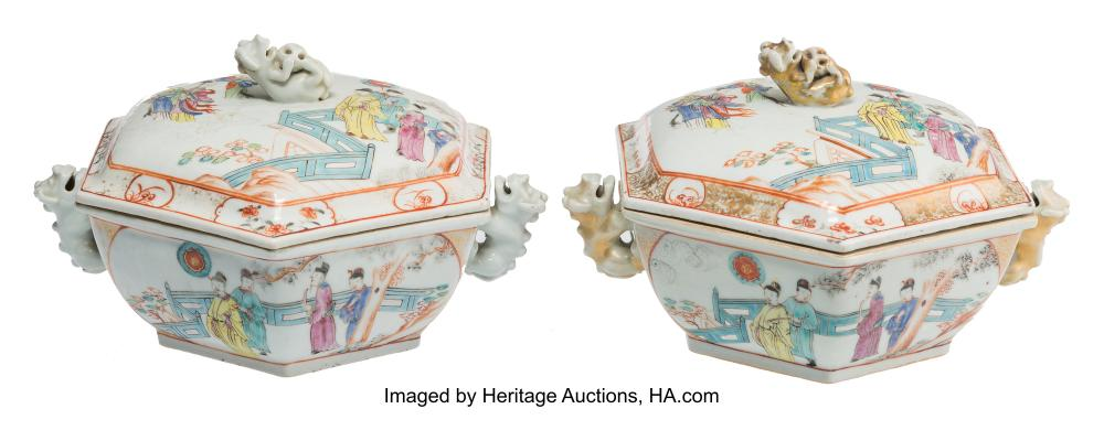 Lot 21286: A Pair of Chinese Partial Gilt Export Porcelain Covered Tureens, Qing Dynasty, Q