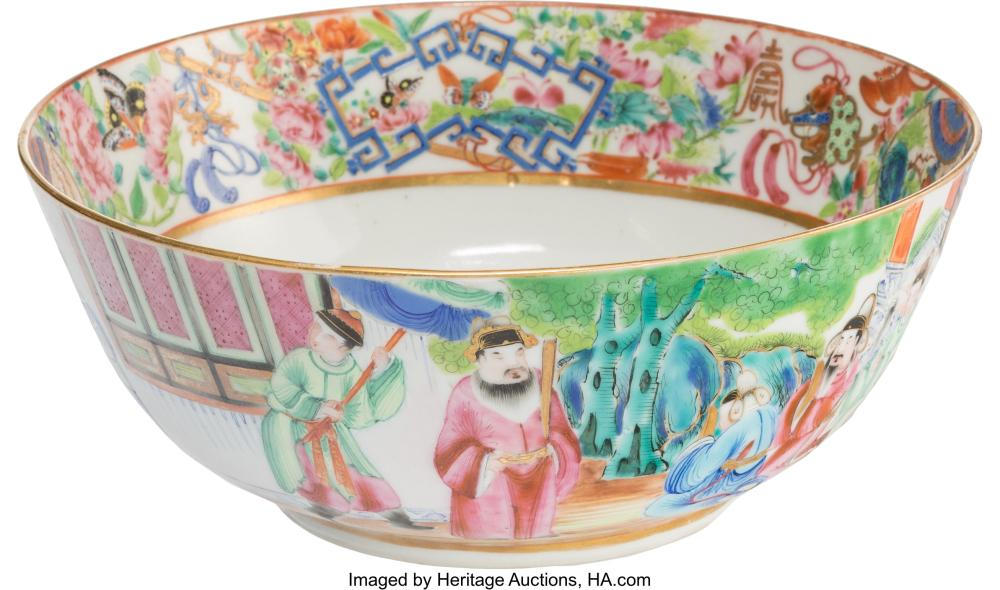 Lot 21297: A Chinese Porcelain Rose Medallion Bowl, Qing Dynasty 3-1/8 x 7-1/2 x 7-1/2 inch