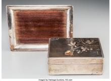 Lot 21285: A Japanese Silver and Mixed Metals Covered Box and Fitted Stand, Taisho Period M