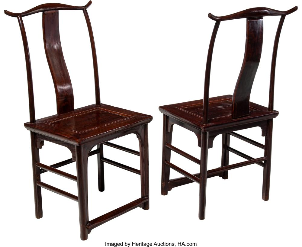 Lot 21290: A Pair of Chinese Elmwood Side Chairs, 19th century 43-1/2 x 20-1/2 x 16-3/4 inc
