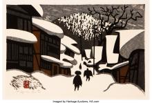 Lot 21295: Japanese School (20th Century) Pair of Winter Landscapes Woodblock in colors on