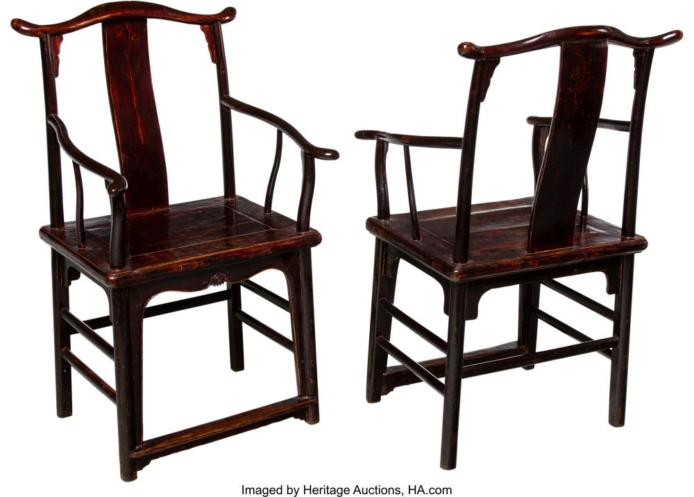 Lot 21292: A Pair of Chinese Elmwood Arm Chairs, 19th century 41-1/2 x 22-3/4 x 20 inches (