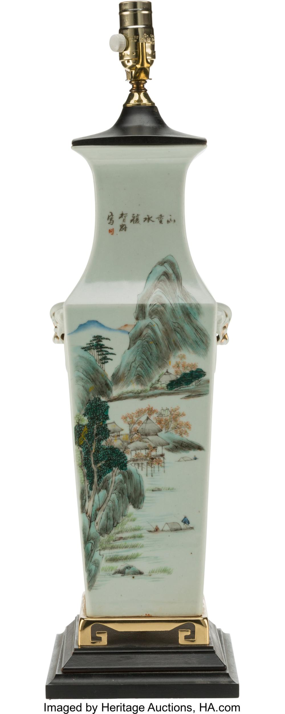 Lot 21296: A Chinese Partial Gilt Enameled Porcelain Lamp, 20th century 25-1/8 x 7 inches (